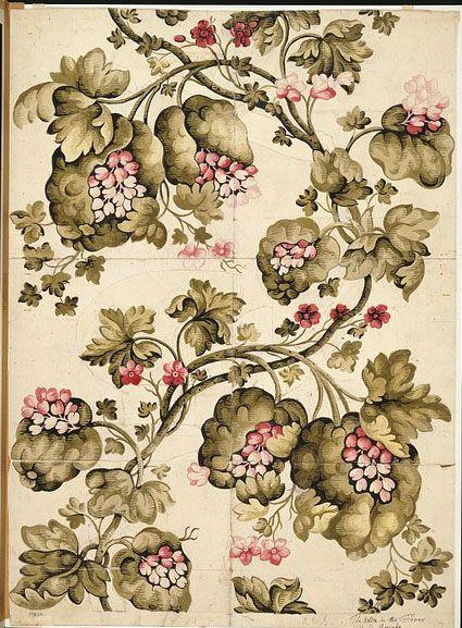 Anna Maria Garthwaite (1688 – 1763) , Watercolour textile design, Spitalfields, England  ca. 1730  Garthwaites Designs were woven by Huguenots living & working in Splitfields