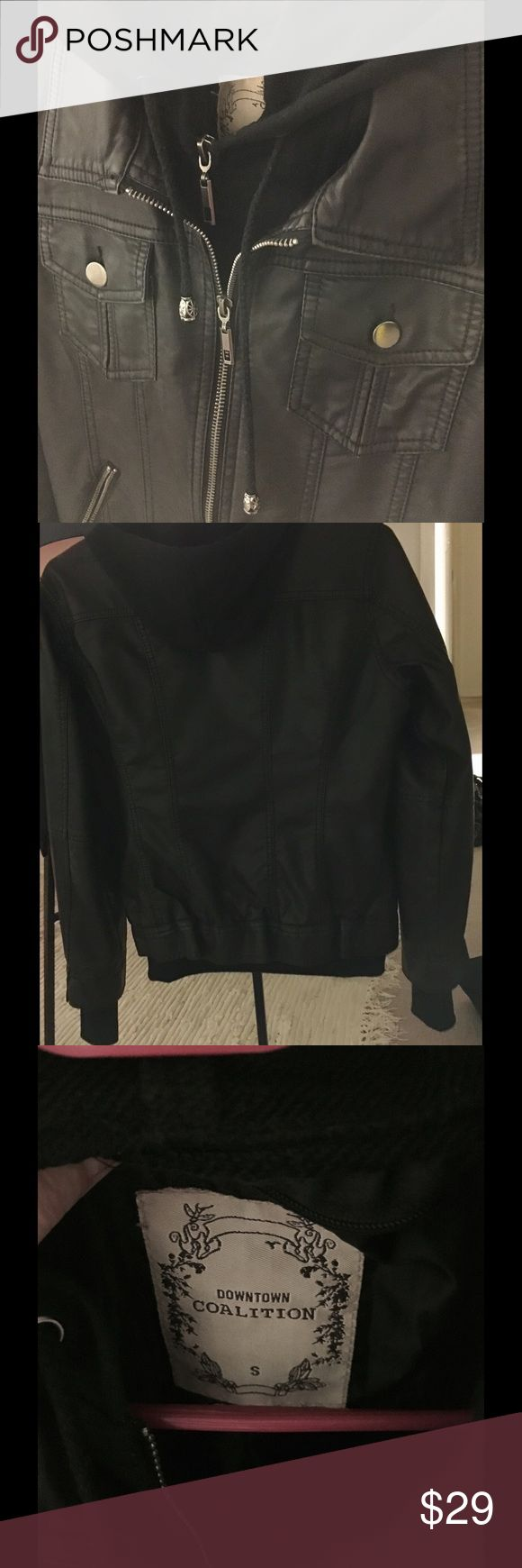 """Women's Brown Leather Jacket Hoodie Small Brown faux leather jacket with a zip in or out hoodie. In very good condition! Purchased from a boutique. If you have any questions please ask! 18"""" armpit to armpit - 23"""" shoulder to bottom hem - 26"""" sleeve length Downtown Coalition Jackets & Coats Utility Jackets"""
