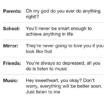This is true! Don't ever let someone tell you anything about your music. Because I it helps better then them