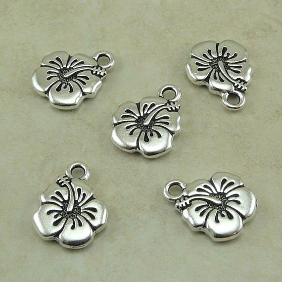5 TierraCast Hibiscus Flower Charms  Tropical by Dragynsfyre (Craft Supplies & Tools, Jewelry & Beading Supplies, Charms, tropical, tattoo, hawaii, hawaiian, world war 2, flower floral, hibiscus, hummingbird, hibiscus charm, flower charm, hawaiian shirt, tierracast charm, tierracast bead)
