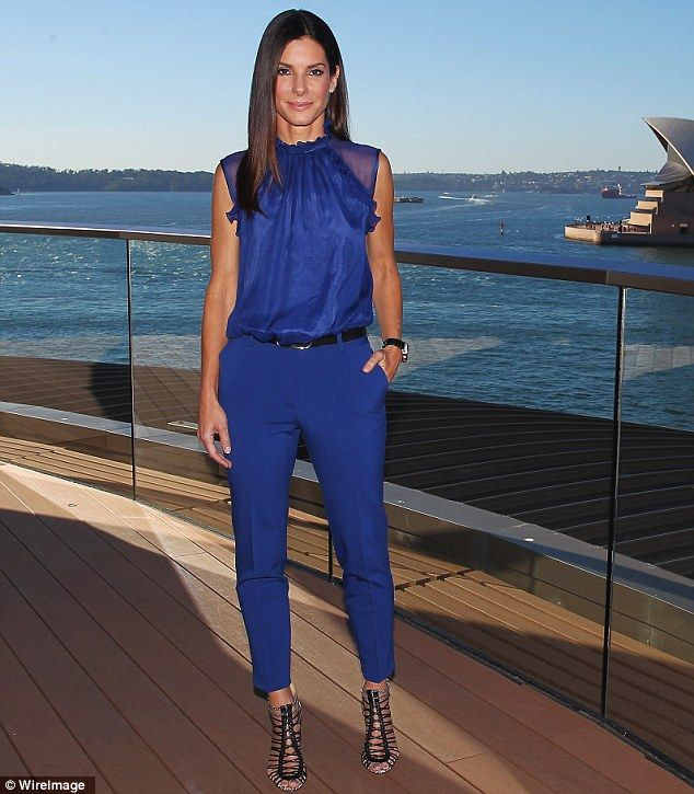 Shine bright: The actress donned a vibrant cobalt ensemble including a sleeveless blouse and cropped trousers