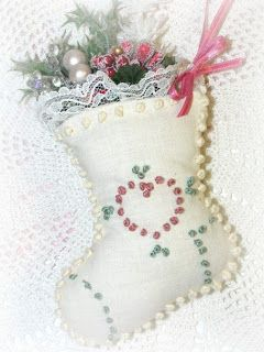 Crazy Quilting and Embroidery Blog by Pamela Kellogg of Kitty and Me Designs: Mini Embroidered Stocking Ornaments
