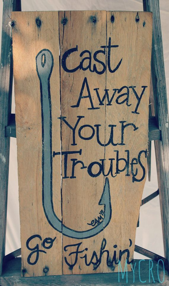 Cute handpainted hook and fishing quote on an upcycled by MyCRO, $30.00