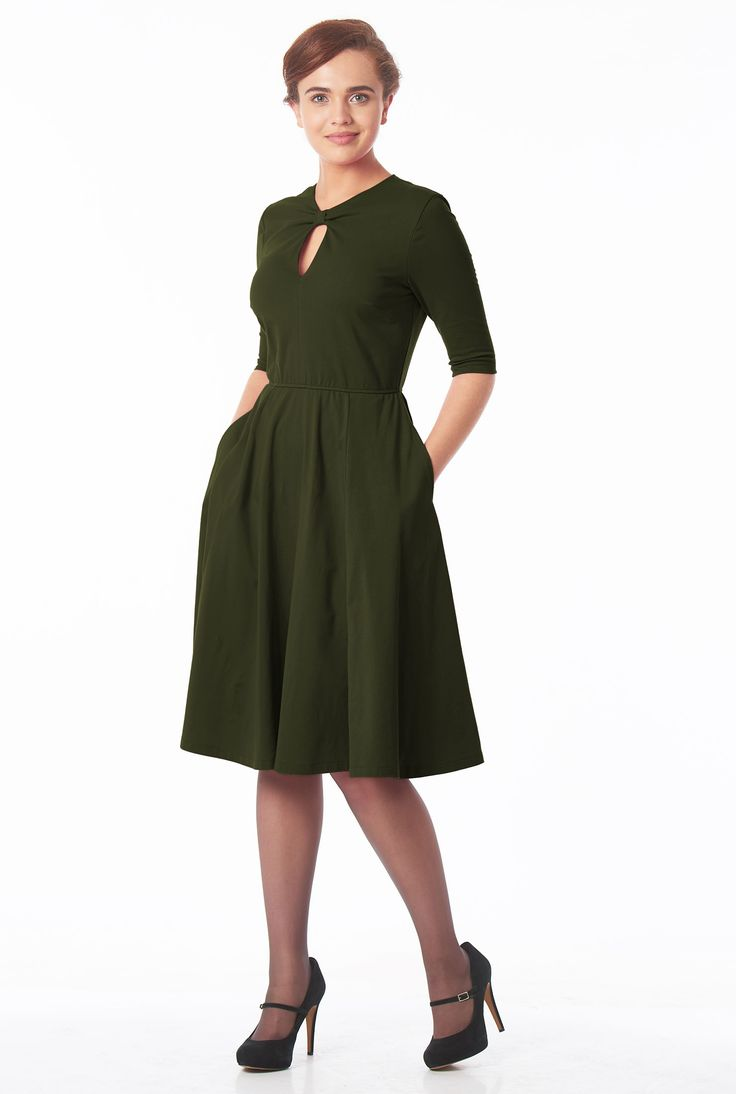 , below knee length dresses, cotton/spandex Dresses, elastic waist dresses, elbow length sleeve dresses, jersey knit dresses, jewel neck dresses, Loden Green Dresses, machine wash dresses, midweight dresses, pocket dresses, stretch Dresses