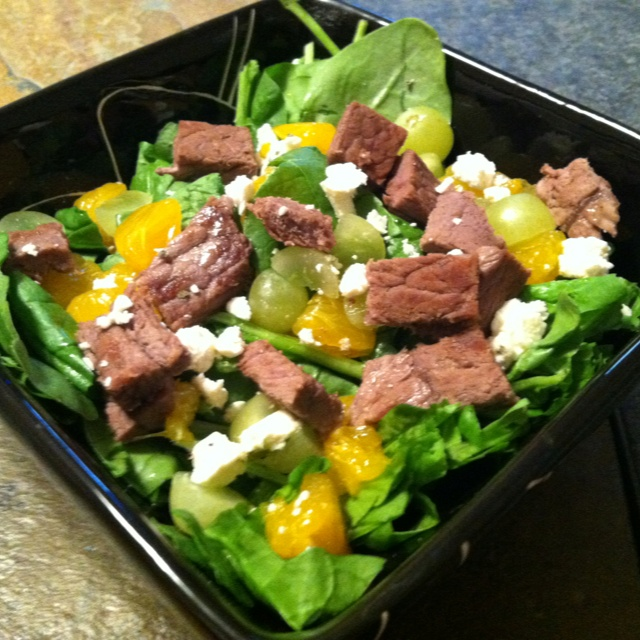 Salad: 2 oz. grilled steak with mandarin oranges, grapes, pineapple ...