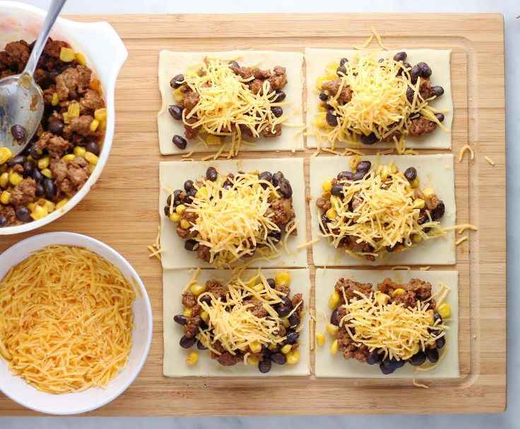beef taco pop tarts. Could make with whole grain crust and add more veggies like peppers and onions to beef mix