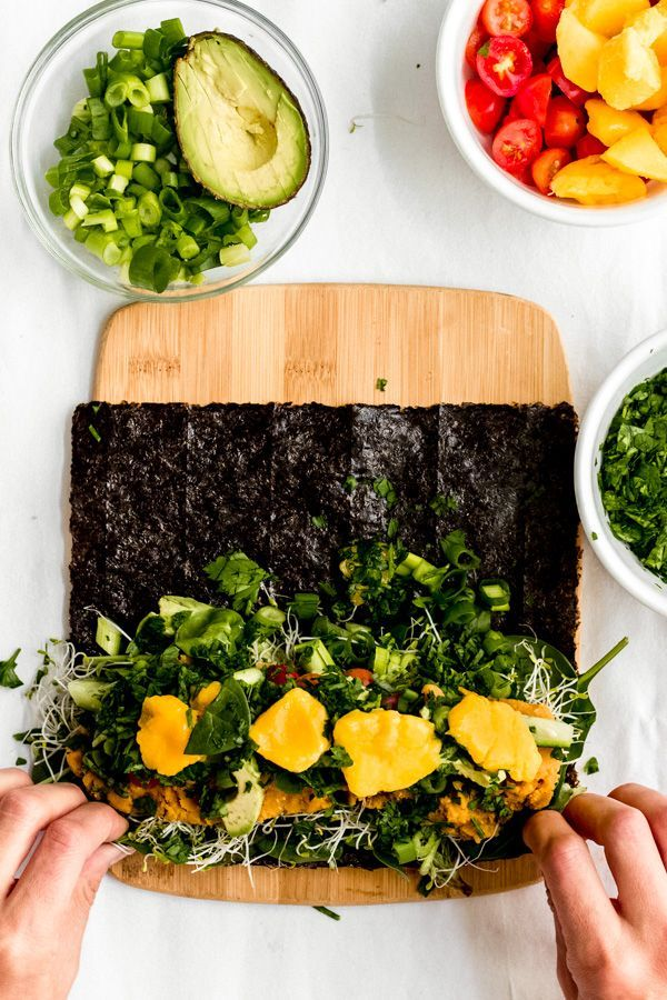 Smoky Red Lentil Rainbow Nori Sushi Roll