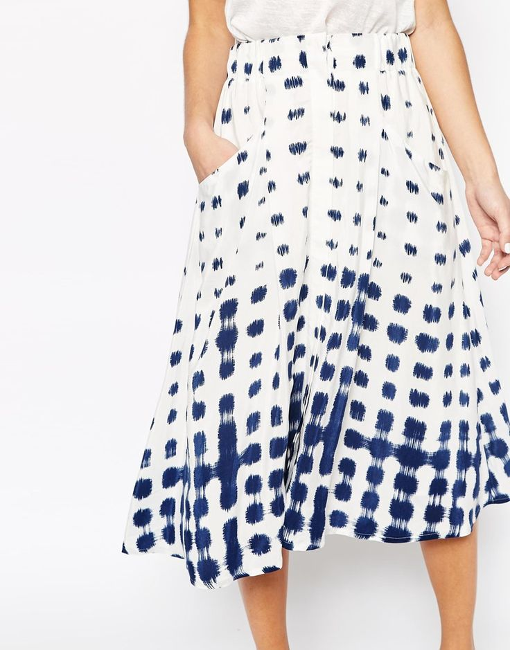 Image 3 ofWhistles Button Through Skirt in Shibori Spot Print