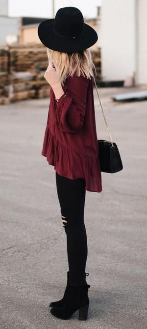 all black + burgundy top. #boho street style.