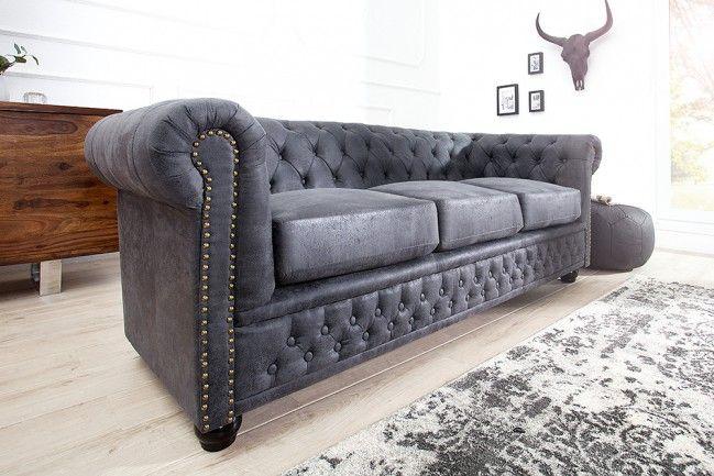 Chesterfield 3er Sofa 200cm Antik Grau Mit Knopfheftung Und Federkern Riess Ambiente De 3er Sofa Couch Grau Wohnzimmer Grosses Sofa