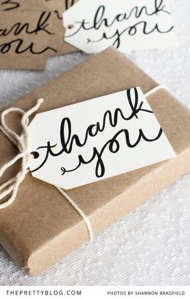 "Free printable ""thank you"" gift tags."