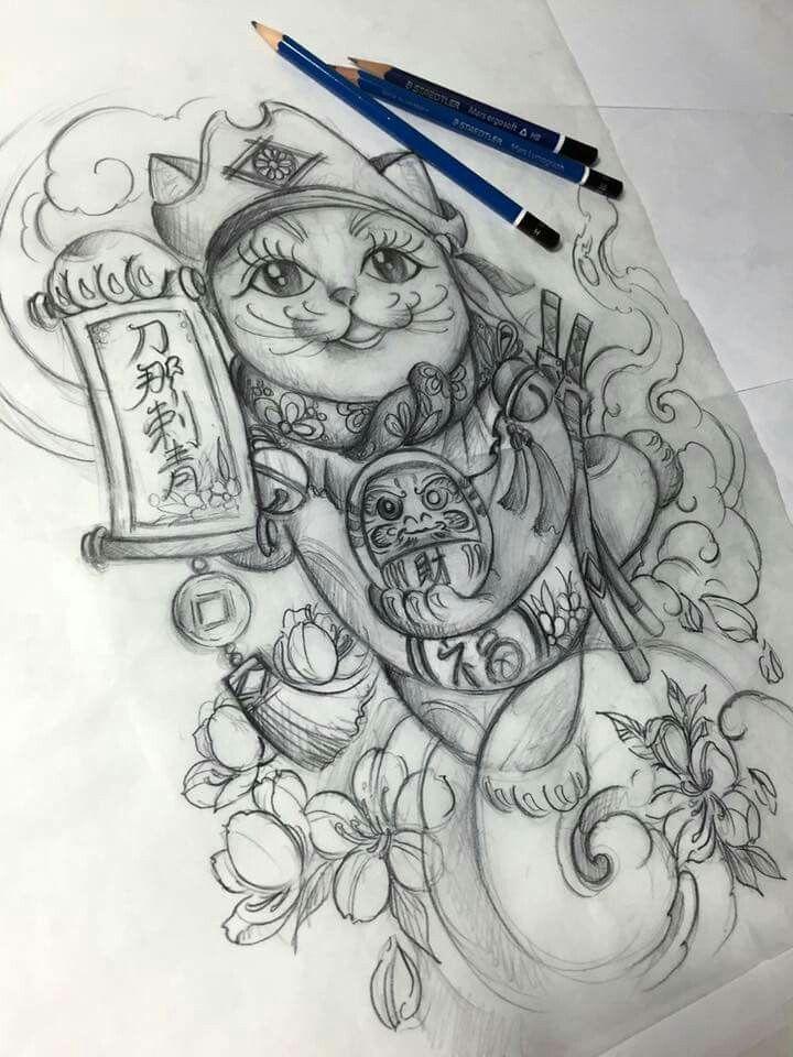 31 best gatos orientales images on pinterest maneki neko japanese tattoos and tattoo ideas. Black Bedroom Furniture Sets. Home Design Ideas