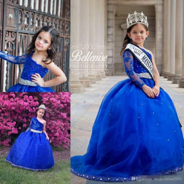2016 Long Sleeves Girl's Pageant Dresses With Sash Princess Ruffle Beaded Appliques Girl's Formal Dresses One Shoulder Kids Prom Dresses Gowns for Girl Pageant Formal Dresses Girls Dresses Online with 94.0/Piece on Magicdress2011's Store | DHgate.com
