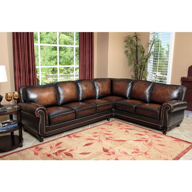Abbyson Living Palermo Woodtrim Top Grain Leather Sectional Sofa   Overstock™ Shopping - Big Discounts on Abbyson Living Sectional Sofas