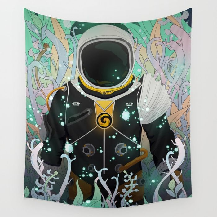 Xenesis App Wall Tapestry #society6 #digital #illustration #space #astronaut #nature #plants #life #particles #decor #lights #explore #traveler #universe #planet #forest #fantasy #scifi #adventure #alien #kids
