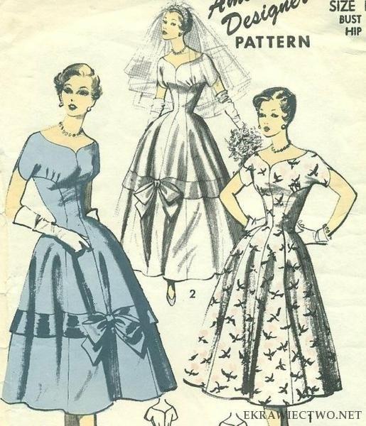 Wykrój lub konstrukcja sukienki w stylu lat 50 tych. | Krawiectwo, moja pasja