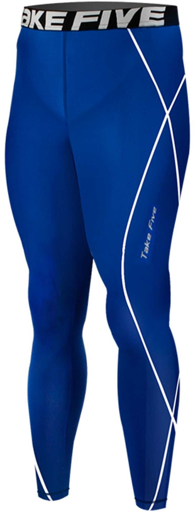 New 054 Skin Tights Compression Leggings Base Layer Blue Running Pants Mens (2XL). Men's long Pants compression Tights made using Take Five technology. Color : Blue. UVA/UVB Protection - Take Five compressoin protects your skin from UVA/UVB radiation during your outdoor workout. Great for skiing, snowboarding, training, competing, and all weather sports and activities. Machine washable.