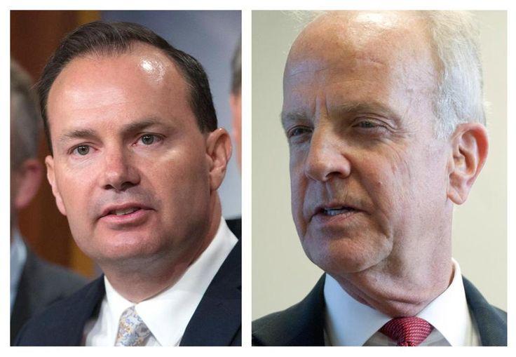 Republican senators Mike Lee of Utah, left, and Jerry Moran of Kansas.