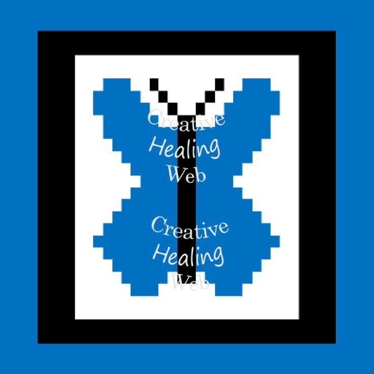 Blue Butterfly graph pattern to make knitted squares for a blanket. Knitting pattern by CreativeHealingWeb on Etsy