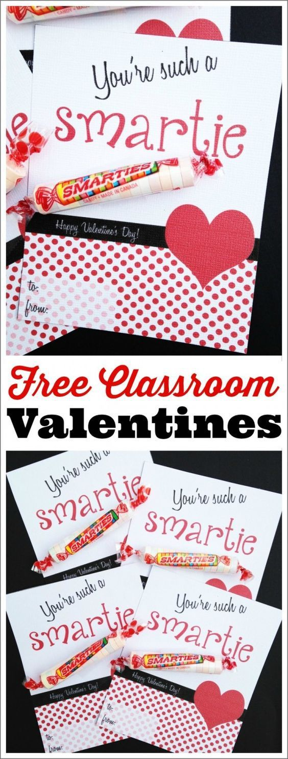 Free printable classroom Smarties Candies Valentines via Catch my Party - Just print out and add Smarties! Great way for your kids to say Happy Valentine's Day to friends, classmates and family.