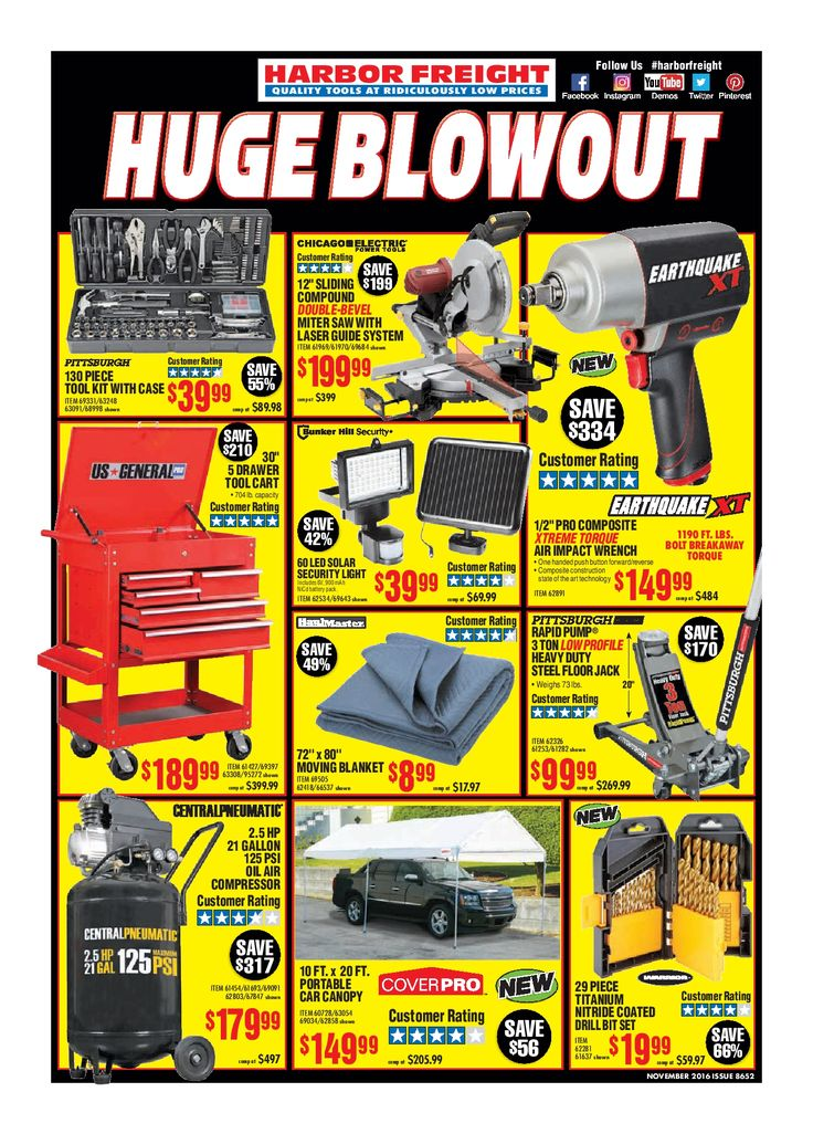 Harbor Freight Tools Weekly Flyer November 2016 - http://www.olcatalog.com/harbor-freight-tools/harbor-freight-tools-weekly-flyer.html