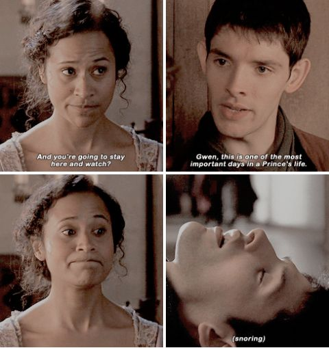 Merlin. Gwen's face on the third pic is priceless!!!