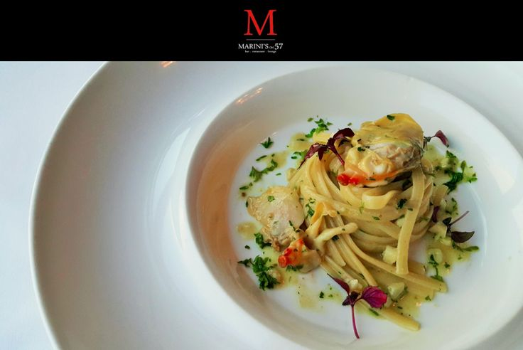 Part of Our New Summer Menu where our Chefs bring summer to your table. Featured dish: Linguine Vongole, artisan made linguine pasta with fresh Pipi clams, garlic & extra virgin olive oil. Marini's on 57, bringing the international seas to you. For reservations please call 03 2386 6030 or email reservations@marinisgroup.com