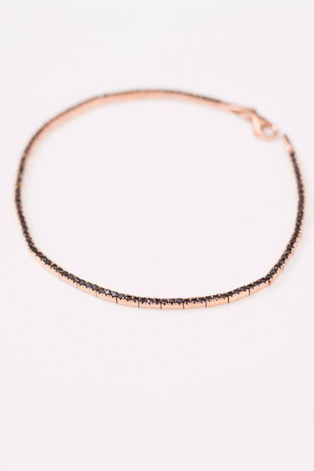 Bratara aur roz cu diamante artificale maro. Montura de diamant.