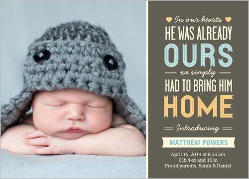 FOR ADOPTION ANNOUNCEMENTS In Our Hearts Boy Birth Announcement