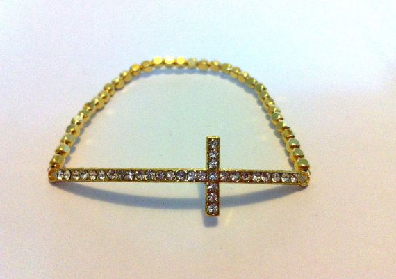 Gold Sideways Cross Bracelet by ByYoursTrulee on Etsy, $12.50
