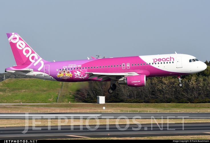 Peach Aviation (JP) Airbus A320-214 JA815P aircraft, with the sticker ''KTM Tour 2017-15 years anniversary of KTM'' on the airframe, landing at Japan Tokyo Narita International Airport. 09/12/2016.(KTM=a Japanese music group).