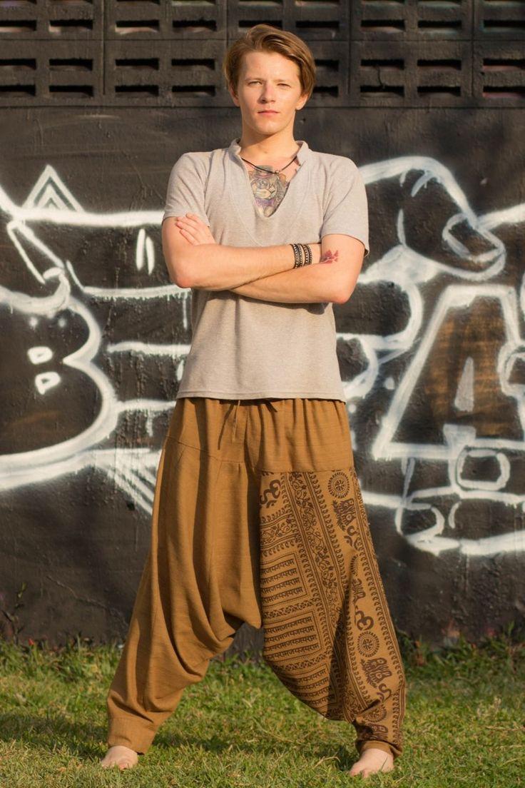 Brown Om Pants for men https://hippie-pants.com