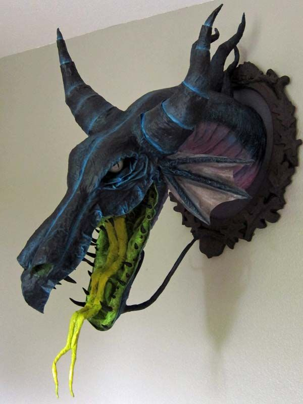 "PAPER MACHE BLOG: Commission: Paper Mache ""Maleficent"" Dragon Trophy / i totally need this."