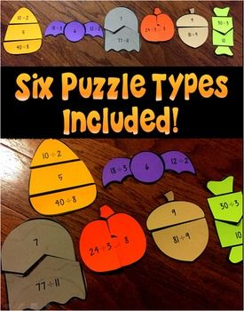 Halloween Division Fact Math Puzzles by The Lifetime Learner | Teachers Pay Teachers