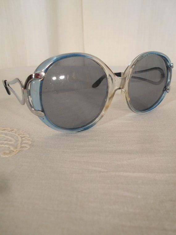 Vintage 1970s Sunglasses Blue Round Circle Sunglasses XL