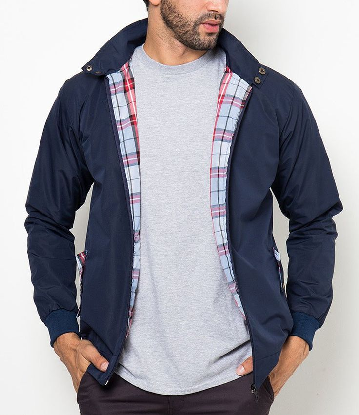 Run Jacket Tolliver.  Made of polyester fabric, navy blue jacket that suitable for everyday use, with a tartan inner, zipper closure, perfect for cold weather, pair this jacket with jeans and sneakers for a casual style.  http://www.zocko.com/z/JGv3c