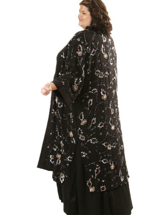ae8e94800dedc Plus Size Evening Beaded Kimono Coat Silk Black Silver Blue  ON SALE NOW  Unique jackets for women Sizes 14 - 36