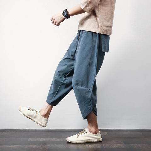 Sinicism Store Cotton Linen Mens Harem Pants Summer Male Casual Calf-Length Pants 2018 Solid Big Pocket Baggy Pants Trousers
