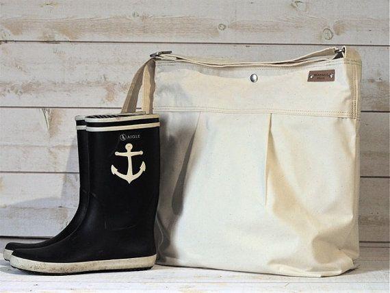 WATERPROOF CANVAS Large Diaper bag / Messenger bag / by ikabags