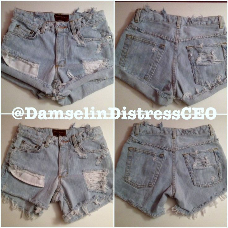 Unique High-Waisted Shorts, Customized by Damsel In Distress  High-Waisted, Light Wash, Peek-A-Boo Pockets, Custom Distressing, Frayed edges,These Shorts, could be worn Rolled  Up, or Rolled Down!  These Shorts were Created for someone, but of course we can re create any of our custom looks! Shoot us an email for more information DamselinDistressCEO@gmail.com and/or visit us on Instagram: @DamselinDistressCEO