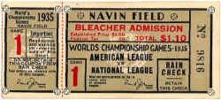 1935 World Series ticket; Navin Field, Detroit.