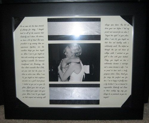 Framed Maid Of Honor speech for the bride after the wedding......perfect idea!!!