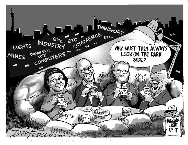 The latest Business Report cartoon highlights the lack of serious response from ANC politicians to Eskom's power crisis.