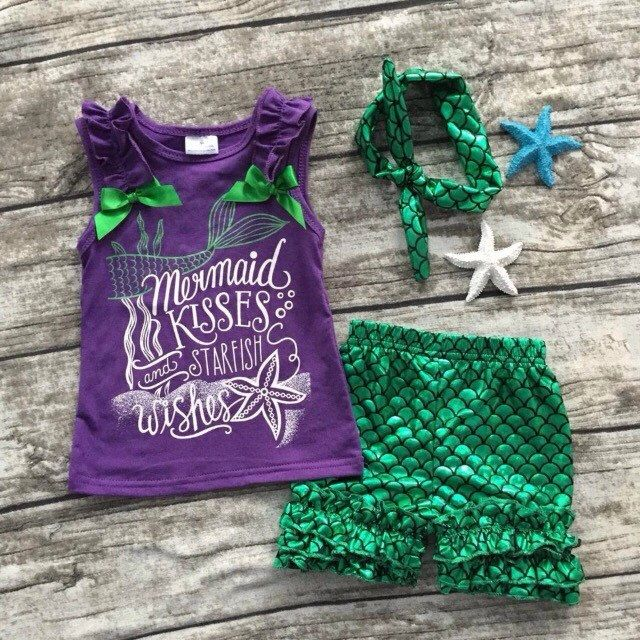 Girls Boutique Outfit, Mermaid, Today I choose to be a mermaid, Mermaid Shirt, Mermaid Shorts, Shorts Set, Birthday Outfit, Mermaid Birthday by BorntobeFabulousShop on Etsy https://www.etsy.com/listing/171696118/girls-boutique-outfit-mermaid-today-i