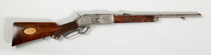 Third Model 1876 Carbine, serial number 45704, manufactured by Winchester Repeating Arms Company, 1884. Owned by President Theodore Roosevelt; engraved by Louis D. Nimschke. Acquisition made possible in part by Paul S. and June A. Ebensteiner. Autry National Center; 85.5.2