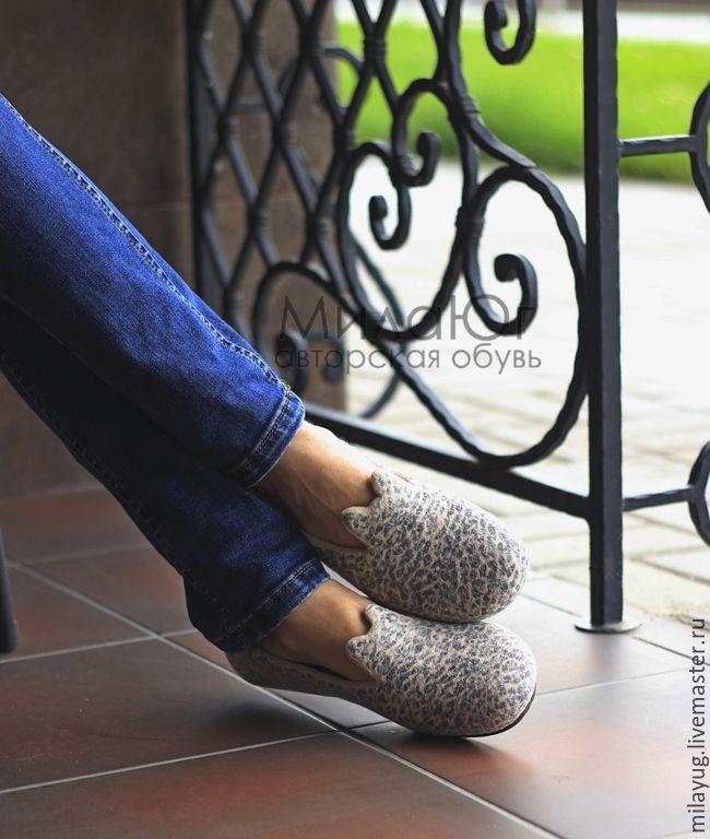 """Купить """"Кэт"""" туфельки балетки валяные - бежевый, песочный, леопард, леопардовый принт, леопардовые туфли"""