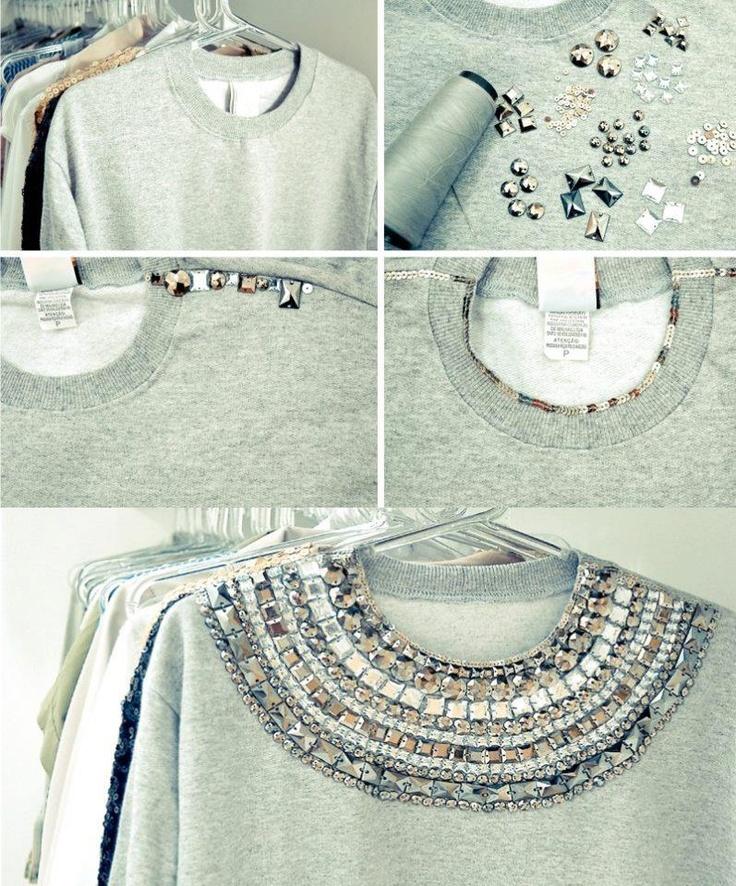 Transforme seu moletom simples e guardado em algo Fabuloso & Elegante !!  Em lojas de bijuterias tem as pedrinhas.. você pode fazer com uma blusa sua qualquer também!!