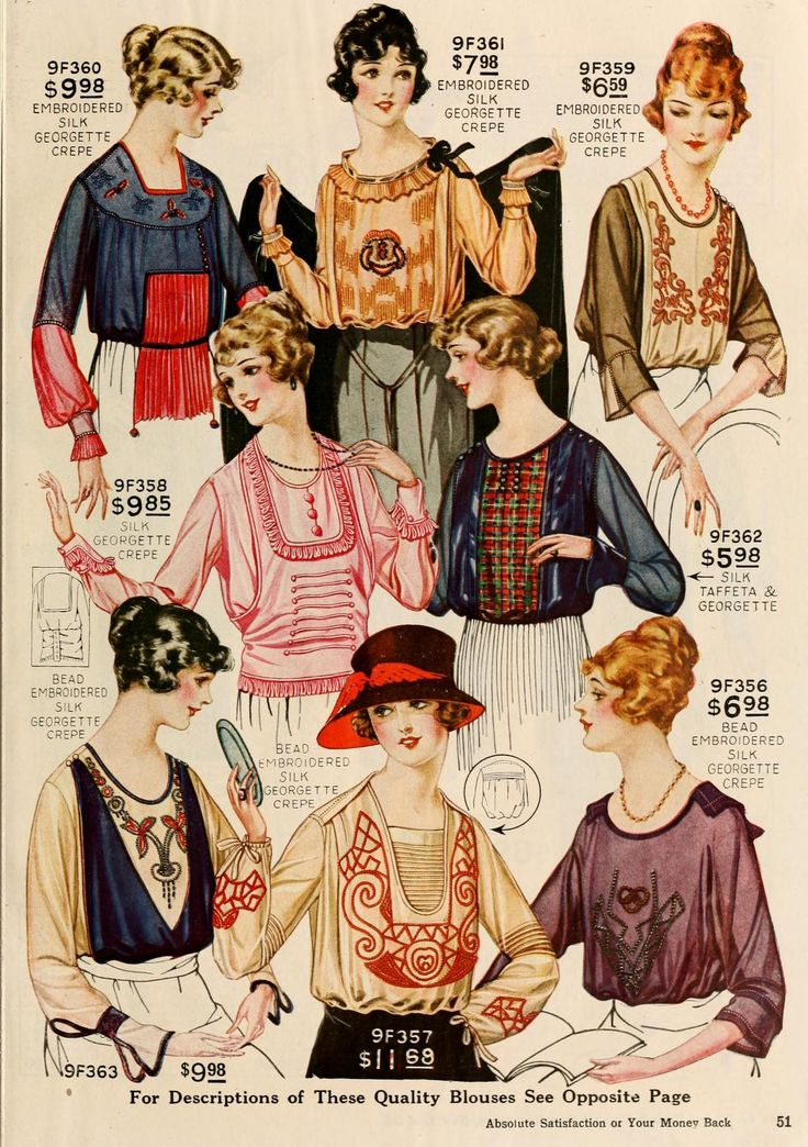 Ladies' blouses by Perry, Dame & Co., American (New York), fall/winter 1919-1920.