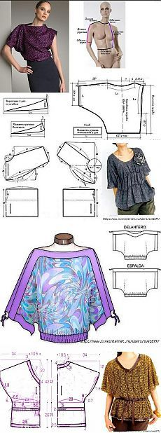 Очень простые выкройки блузок (подборка) . I like the top one.
