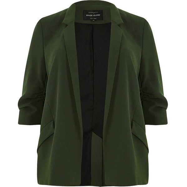 River Island Plus khaki green ruched sleeve blazer (360 BRL) ❤ liked on Polyvore featuring outerwear, jackets, blazers, coats / jackets, khaki, women, ruched-sleeve blazer, open front blazer, plus size blazer jacket and khaki blazer